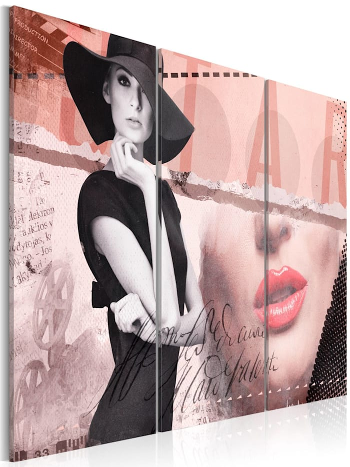 artgeist Wandbild Madame Chic, Schwarz,Grau,rosa