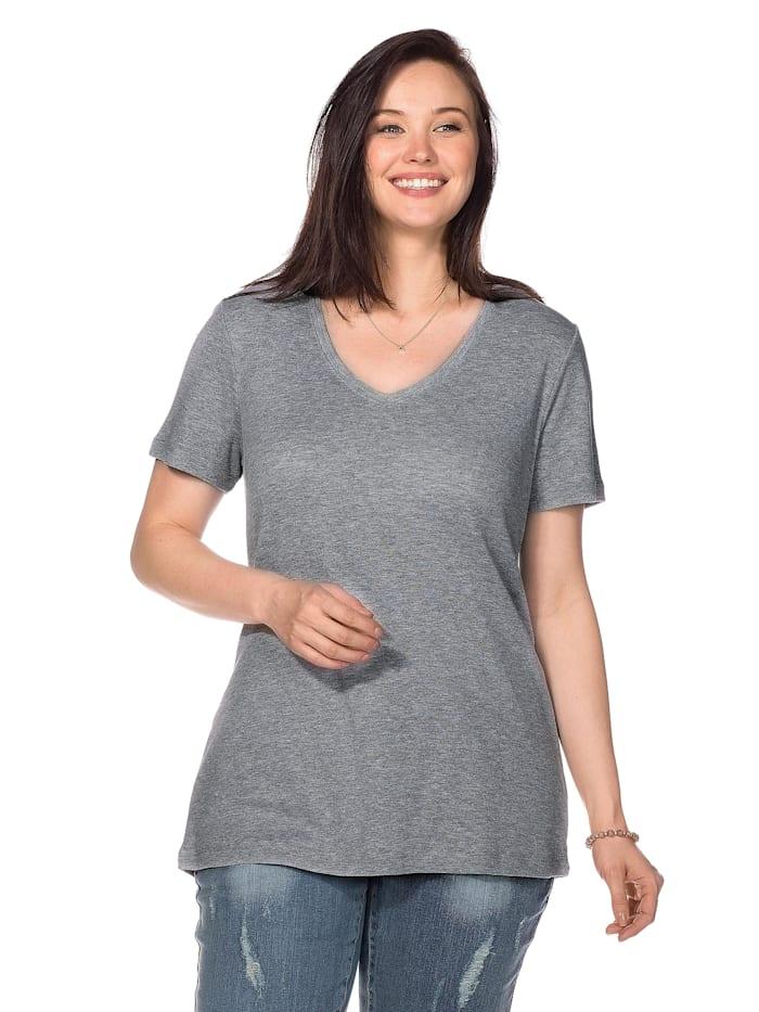 Sheego T-Shirt mit V-Ausschnitt, grau meliert