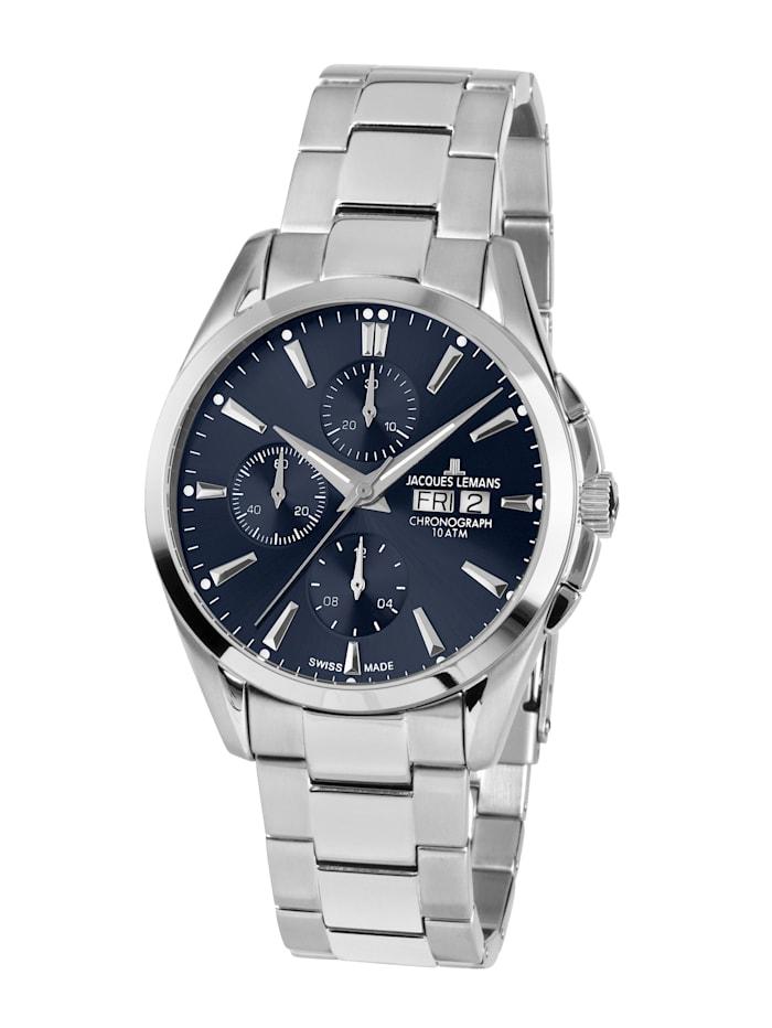 Jacques Lemans Herren-Uhr-Automatik-Chronograph Serie: Derby Automatic, Kollektion: Classic: 1- 1925G, Silberfarben