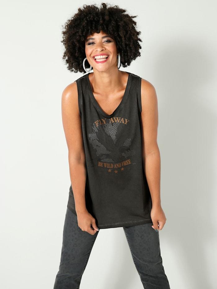 Angel of Style Topje met print voor, Zwart