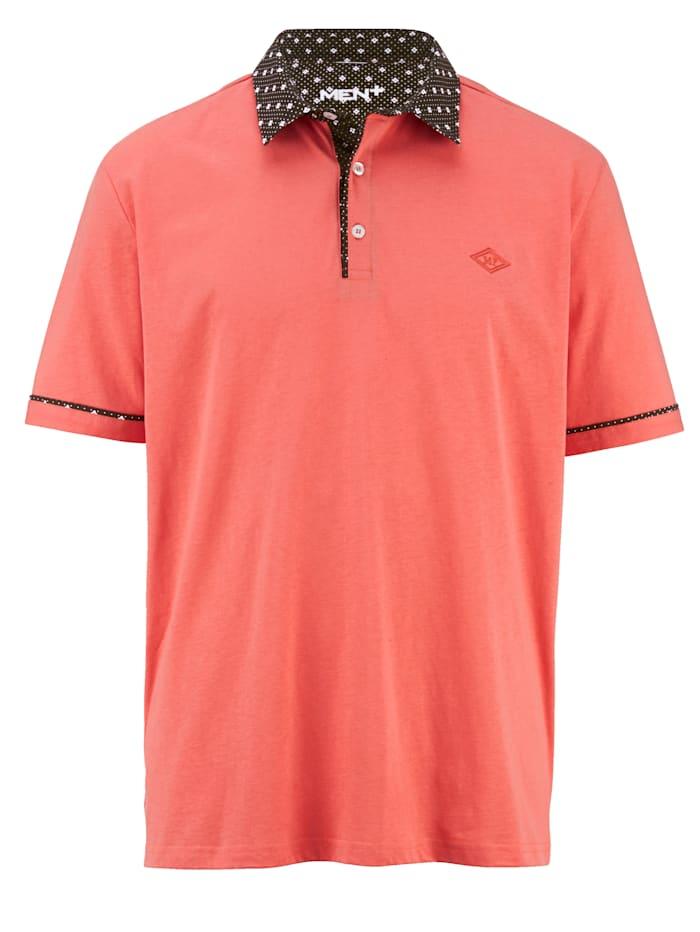 Men Plus Poloshirt mit Allover Print am Kragen, Koralle