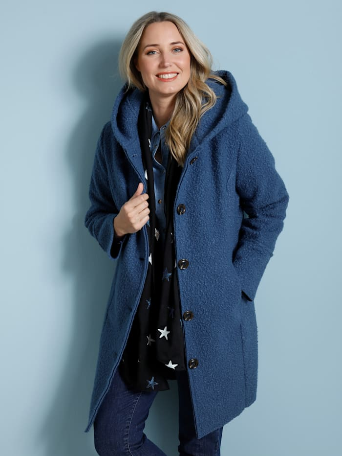 MIAMODA Manteau court d'aspect laine douillette, Bleu