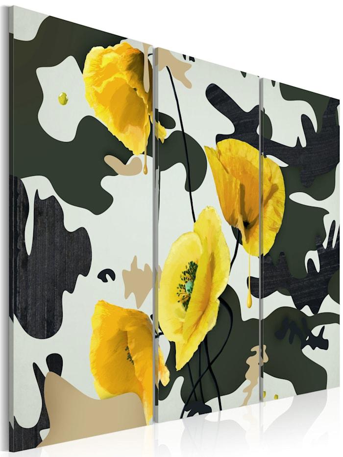 artgeist Wandbild Gemalt mit Mohnblumen - Triptychon, Grün,Gelb,Beige,Weiß