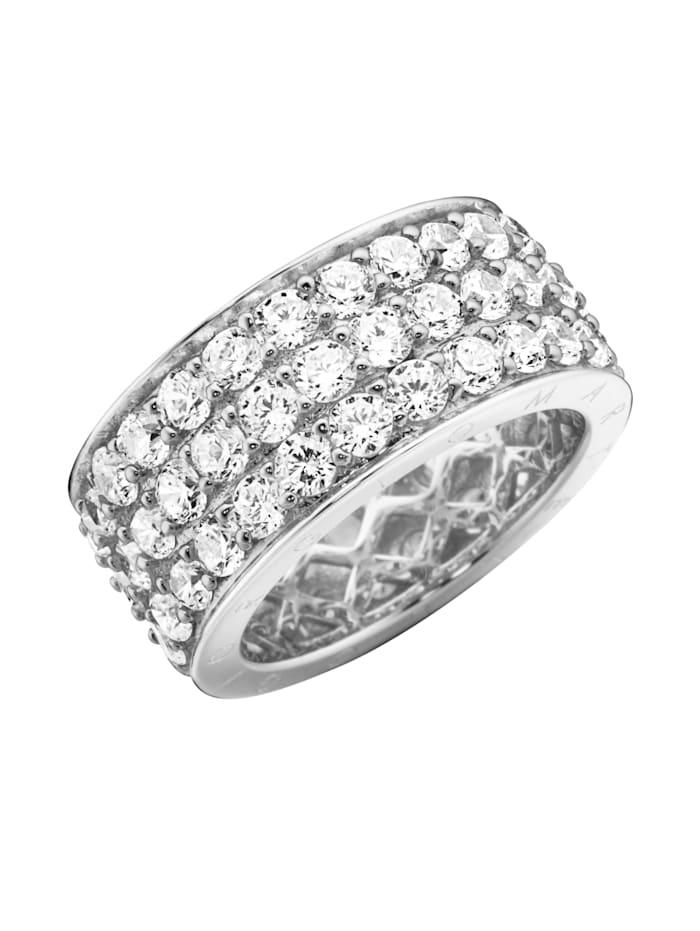 Giorgio Martello Ring Memoire-Ring, 3-reihig, mit Zirkonia, Weiss