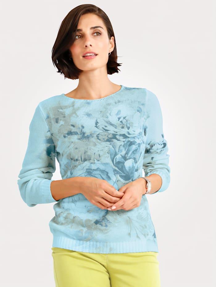 MONA Trui met bloemendessin, Turquoise/Grijs