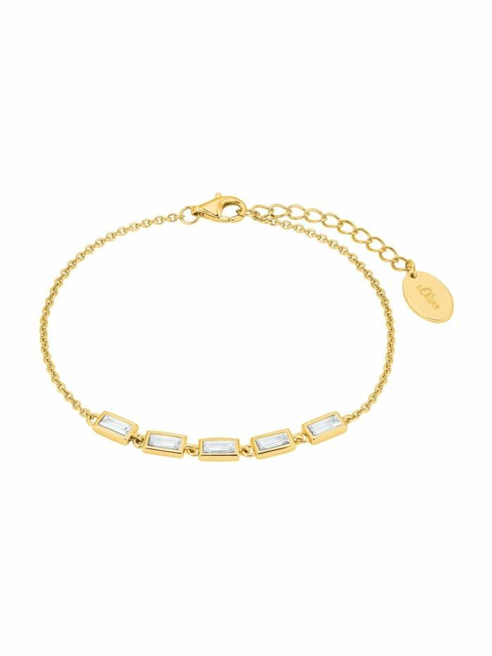s.Oliver Armband für Damen, Sterling Silber 925, Zirkonia, Gold