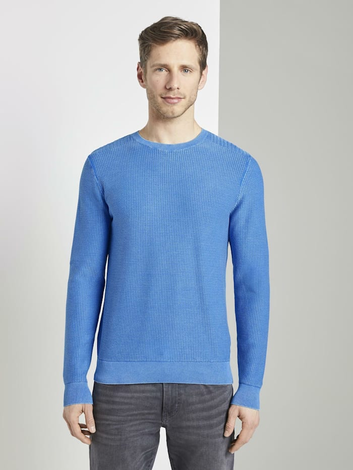 Tom Tailor Strukturierter Sweater im Washed-Look, victory blue