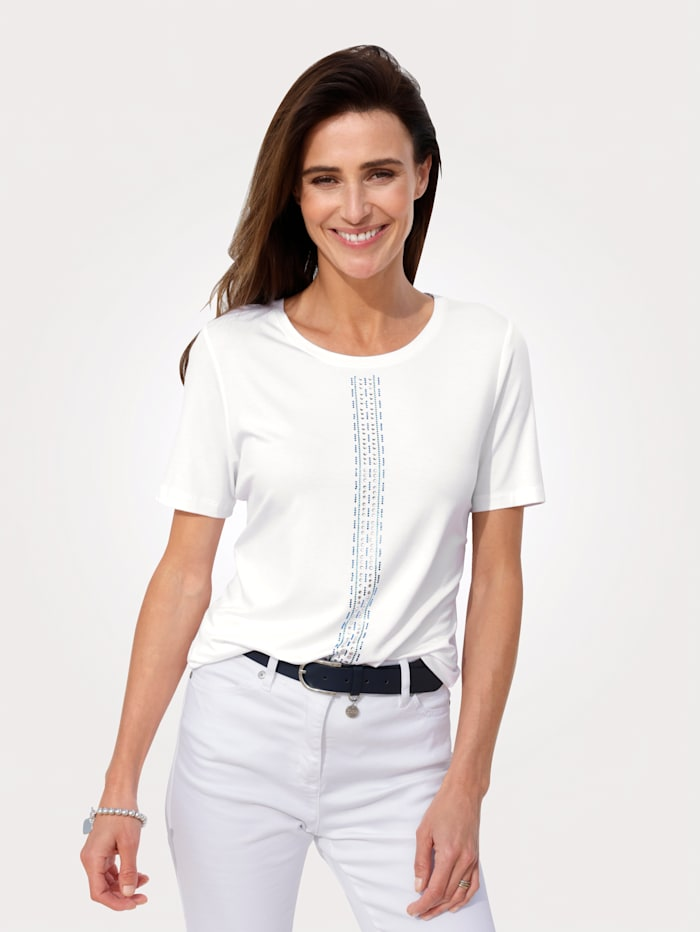 MONA Shirt met strassteentjes, Wit/Blauw