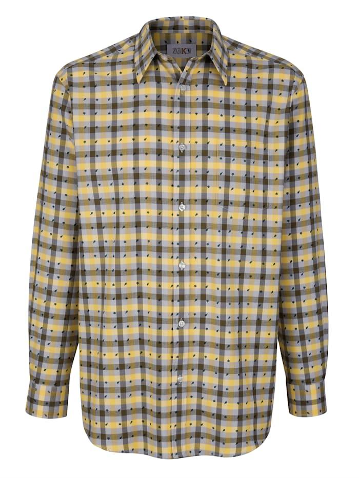 Roger Kent Hemd mit Druckdetails, Gelb/Oliv