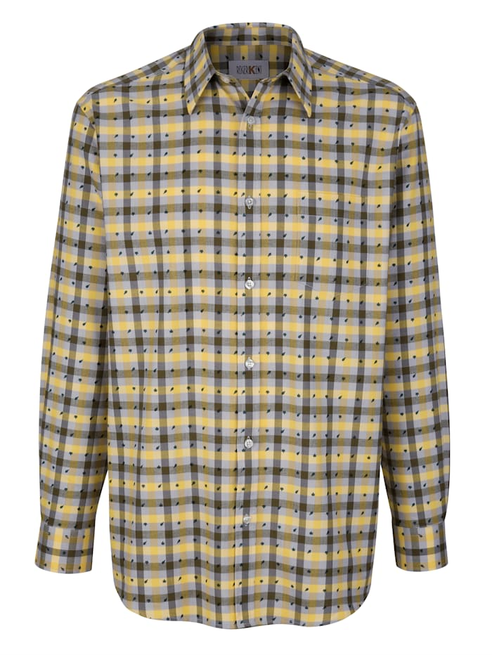 Roger Kent Overhemd met gedessineerde details, Geel/Olijf