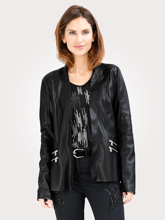 MONA Blazer made from faux leather, Black