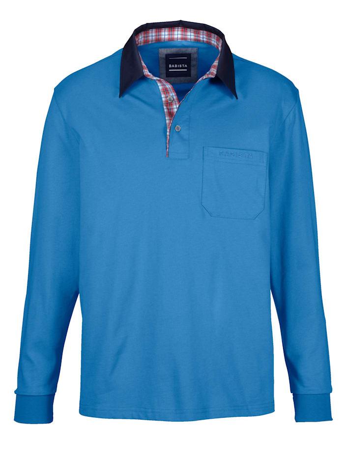 BABISTA Poloshirt met geruit beleg van weefstof aan de kraag, Blauw