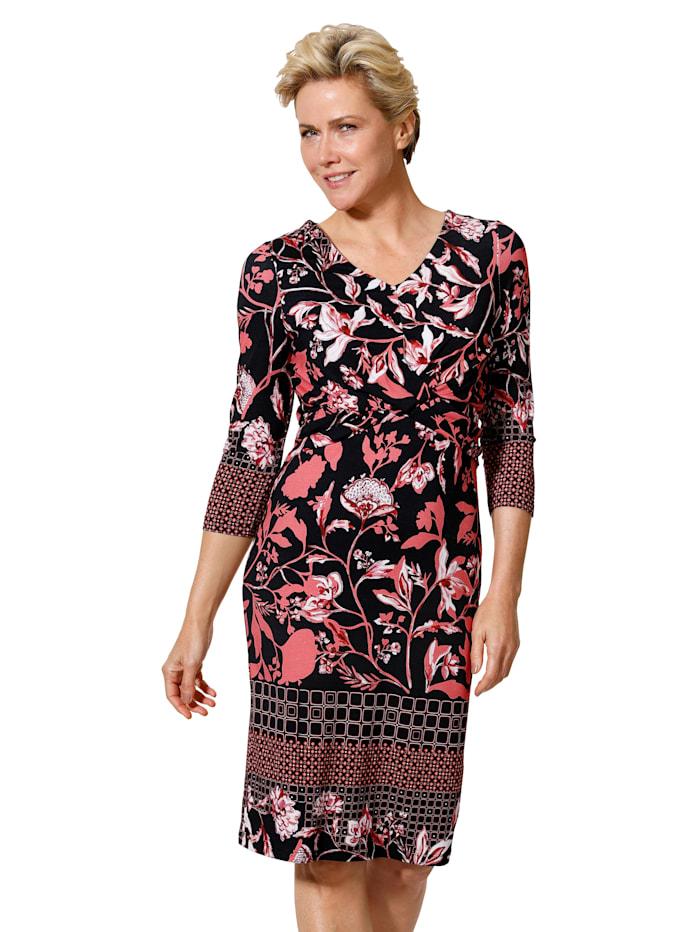 MONA Jersey jurk in harmonieuze kleuren, Koraal/Zwart