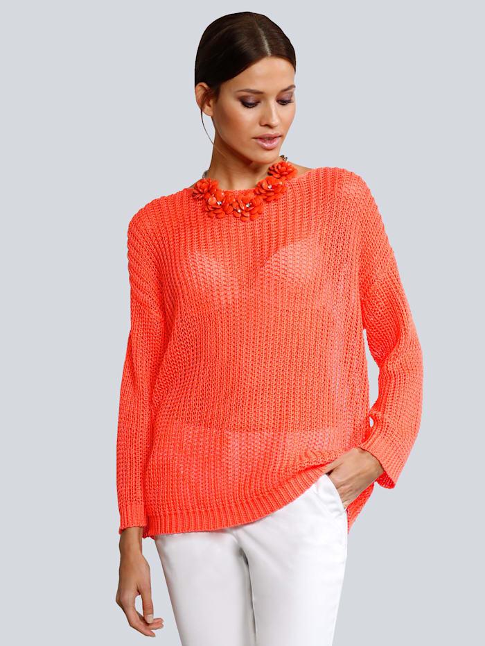 Alba Moda Pullover in lockerem Grobstrick, Orange
