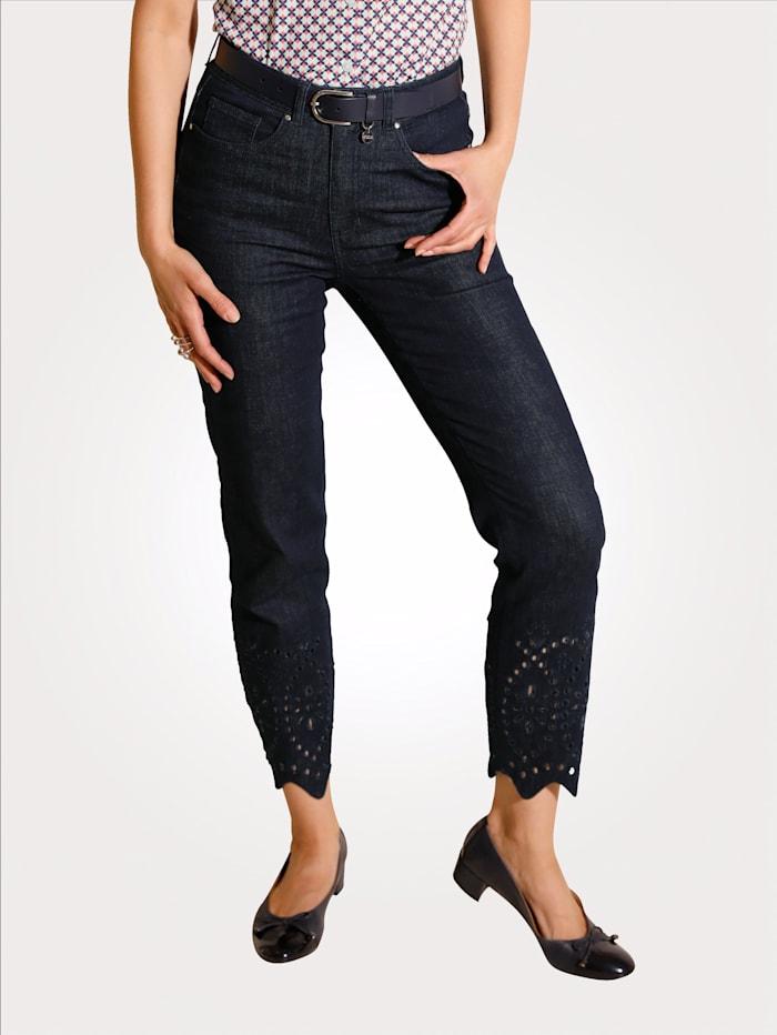 MONA Jeans mit modischer Lochstickerei, Dunkelblau