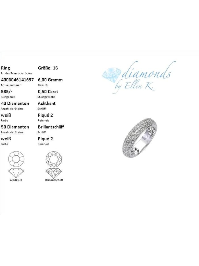 Ring 585/- Gold Brillant weiß Brillant Glänzend 0,50ct. 585/- Gold