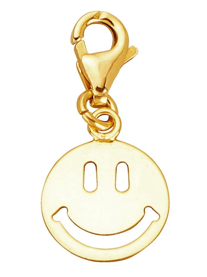 Smiley-Einhänger, Gelbgoldfarben