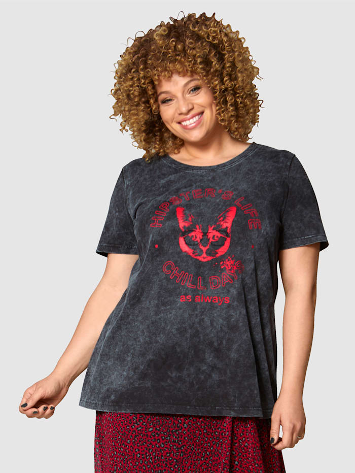 Angel of Style Shirt mit Frontmotiv, Anthrazit/Rot