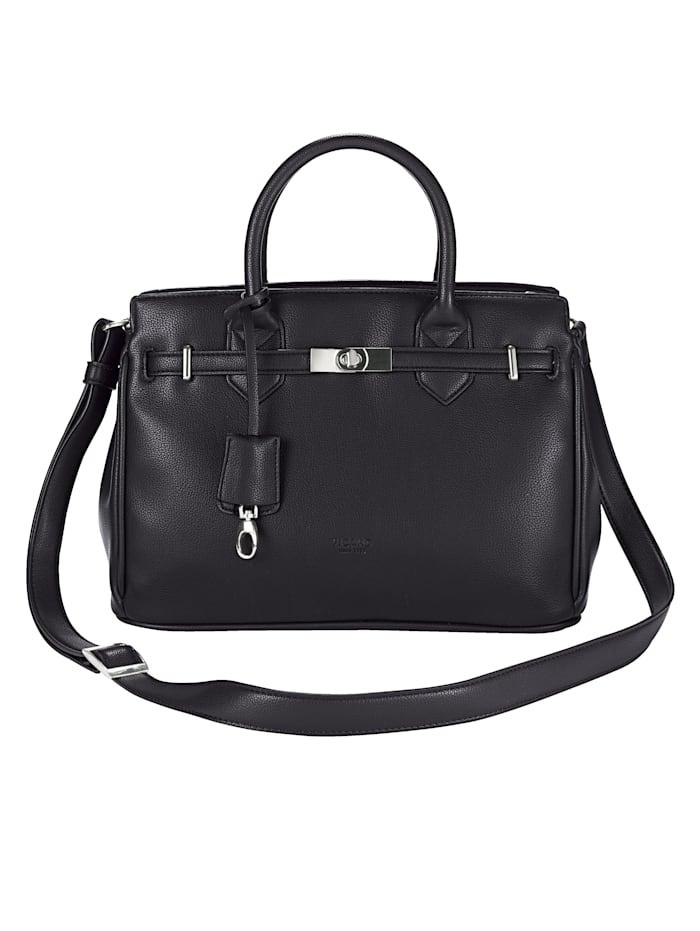Picard Handväska med dekorband och vridlås, svart