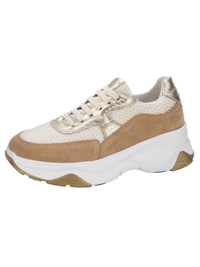 Sneakers i trendig mix, Kamel