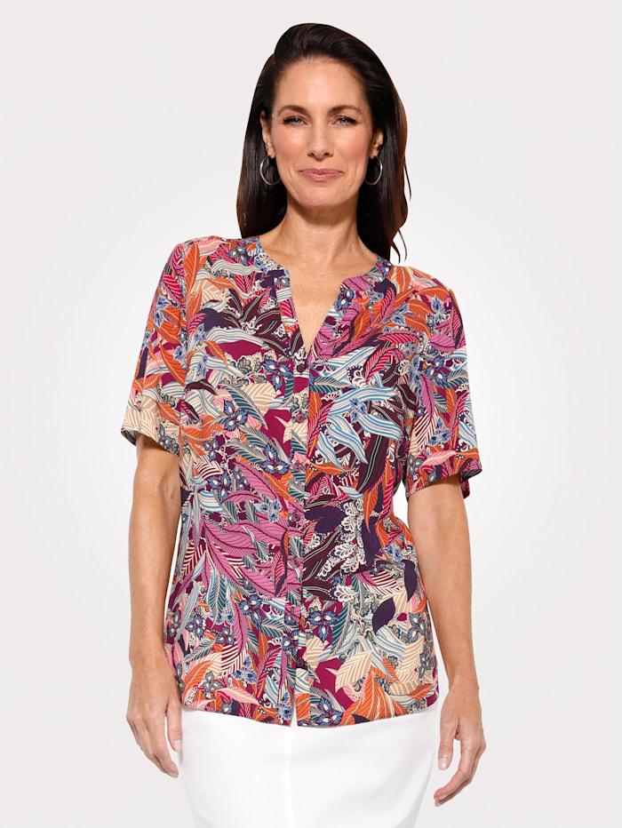 MONA Bluse mit floralem Druck, Fuchsia/Hellblau