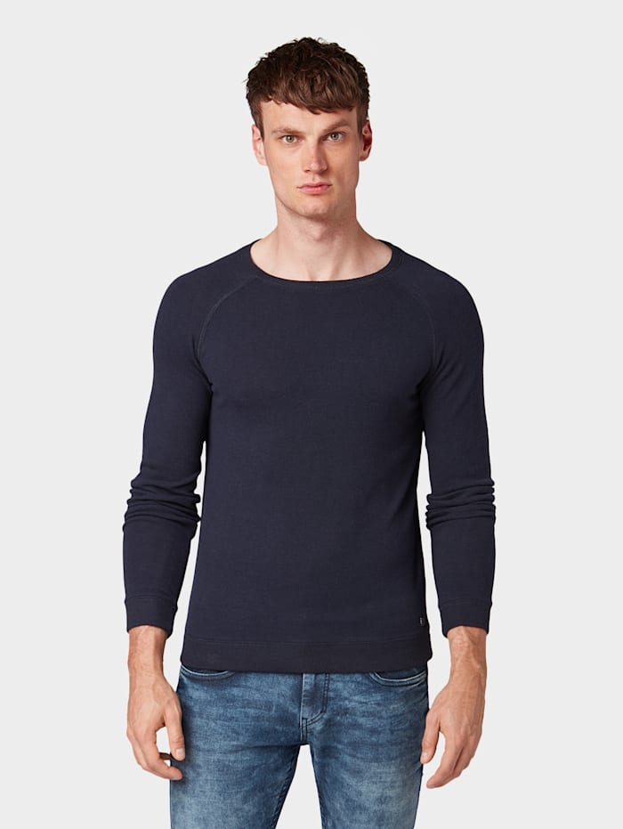 Tom Tailor Lässiger Sweater, Knitted Navy Melange