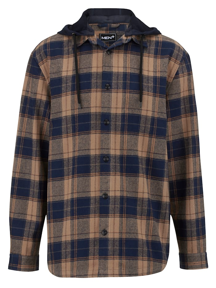 Men Plus Hemdjacke aus reiner Baumwolle, Marineblau/Camel