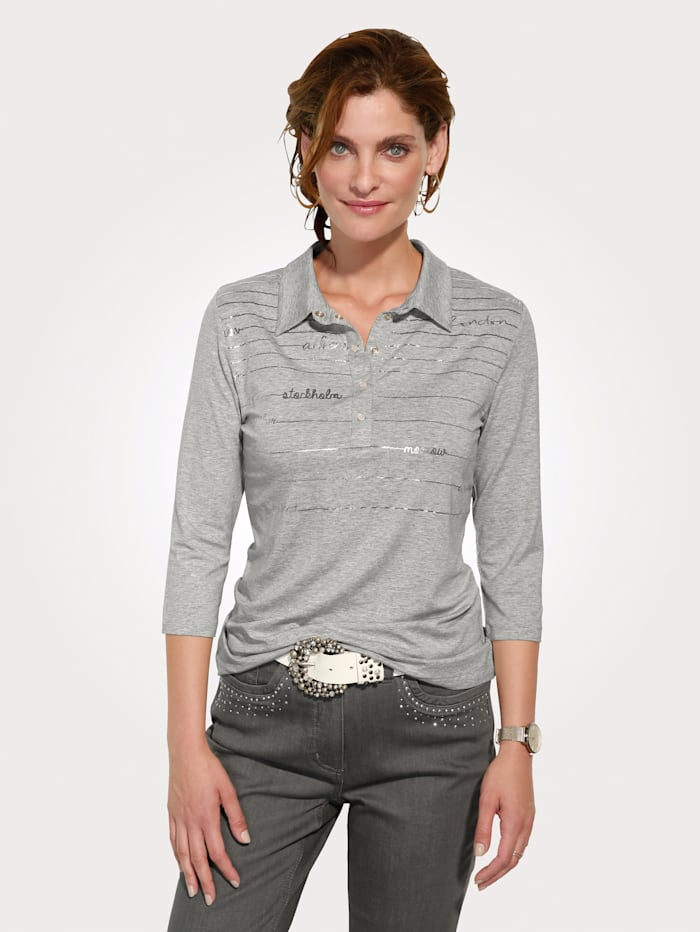 MONA Polo shirt with a unique text print, Light Grey