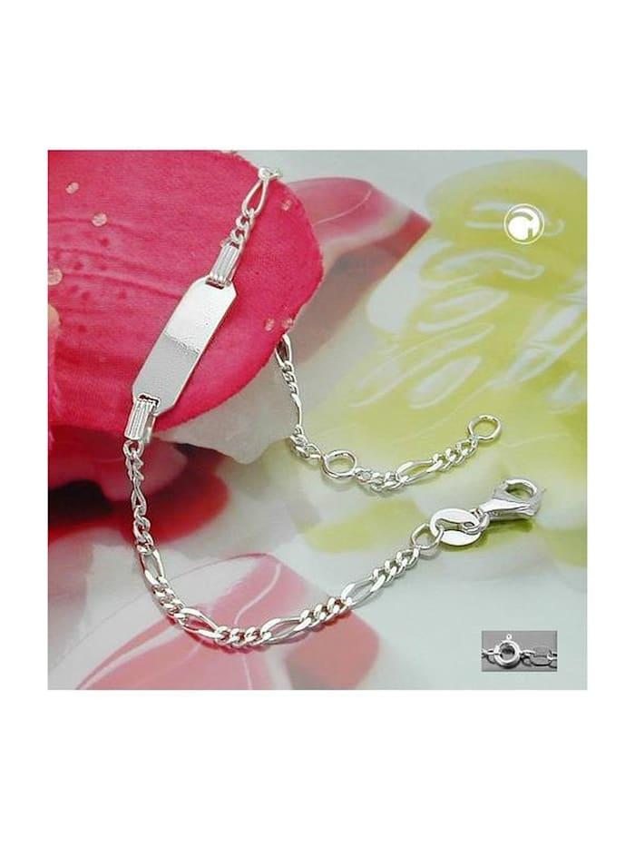Gallay Schmuckgroßhandel Schildarmband für Kinder 2,2mm Figarokette Gravurplatte 21x5mm Silber 925 16cm, silber