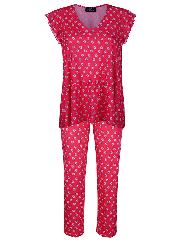 Ringella Pyjama avec manches à jolies finitions ondulées, Rouge/Blanc/Marine