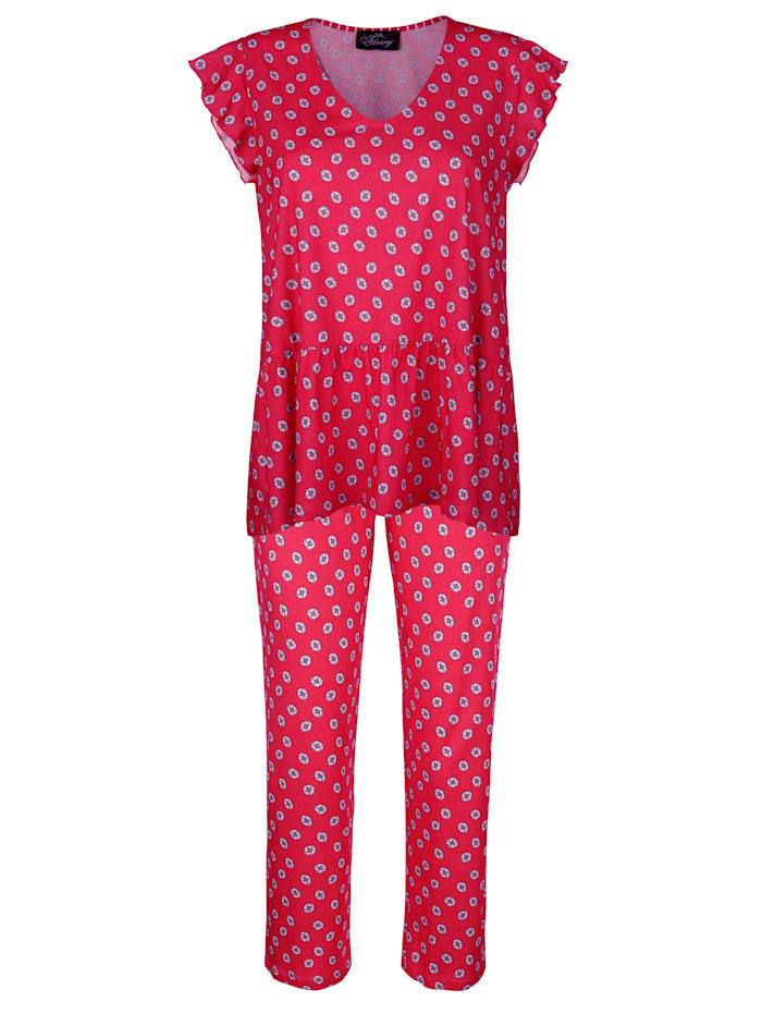 Ringella Schlafanzug mit süßem Wellensaumabschluss an den Ärmeln, Rot/Weiß/Marineblau