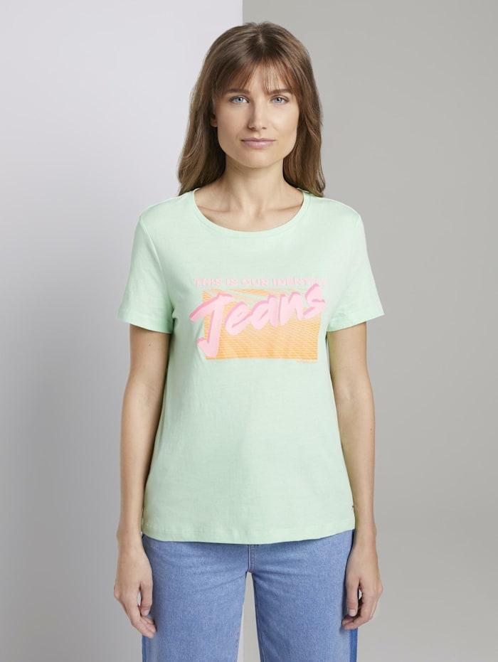 Tom Tailor Denim T-Shirt mit Print, soft neo green