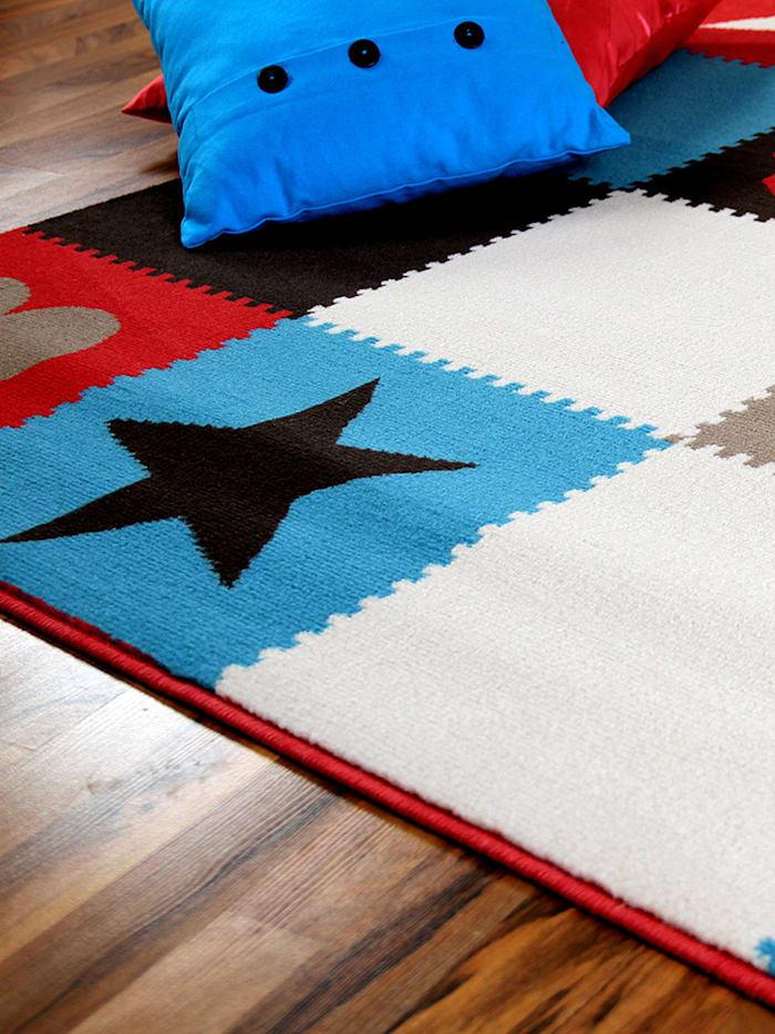 Kinderteppich Trendline Karo Corall Blau