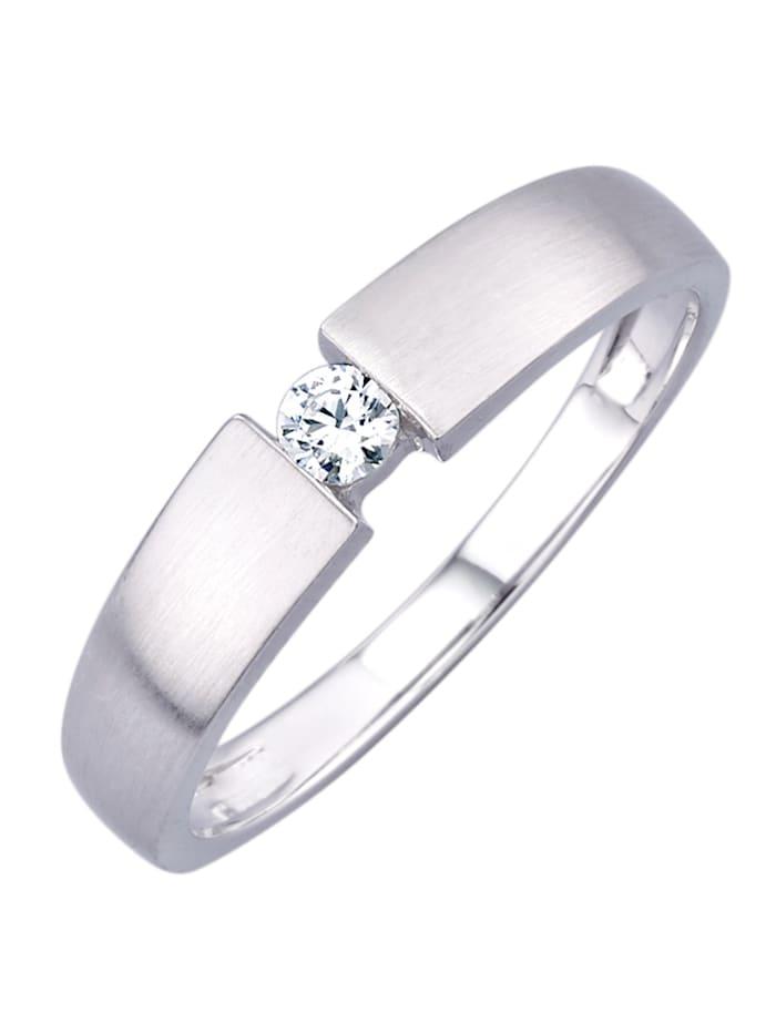 Damenring mit Diamant, Weiß