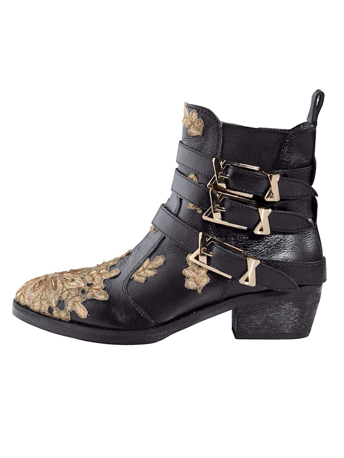 Biker Ankle Boots with hand-crafted embroidered appliqué