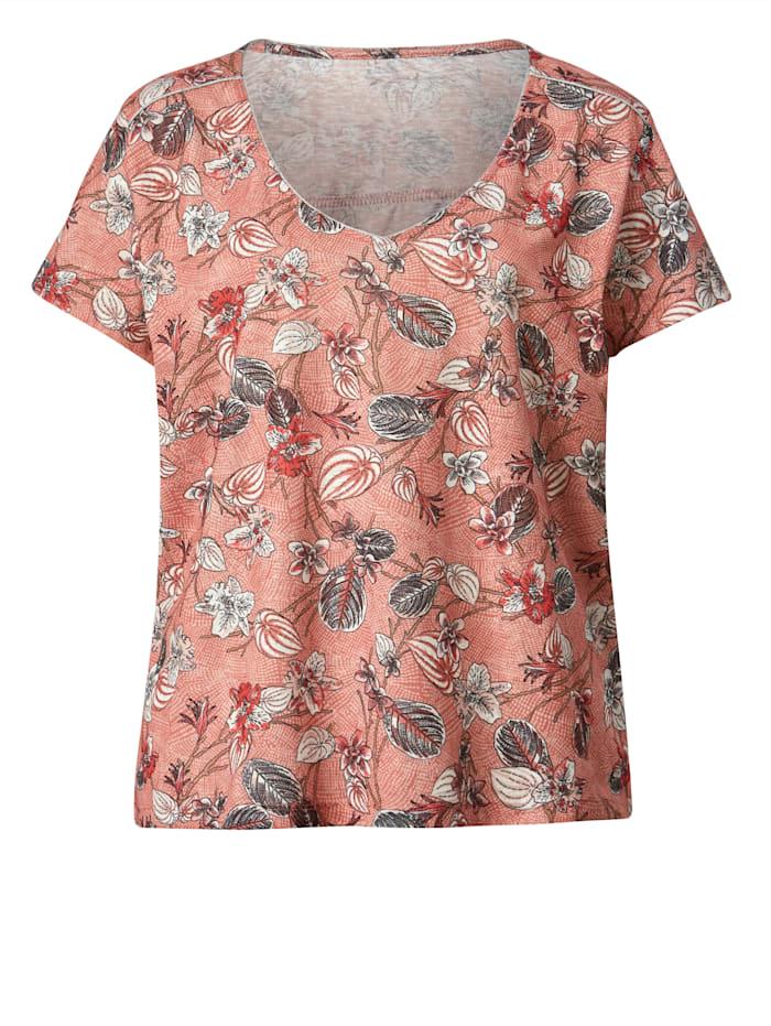 Shirt mit silberfarbener Paspel an Schultern und Ausschnitt