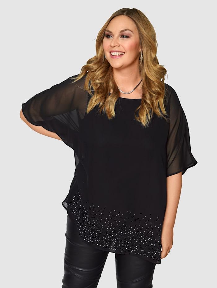 Sara Lindholm Blouse avec doublure en jersey, Noir