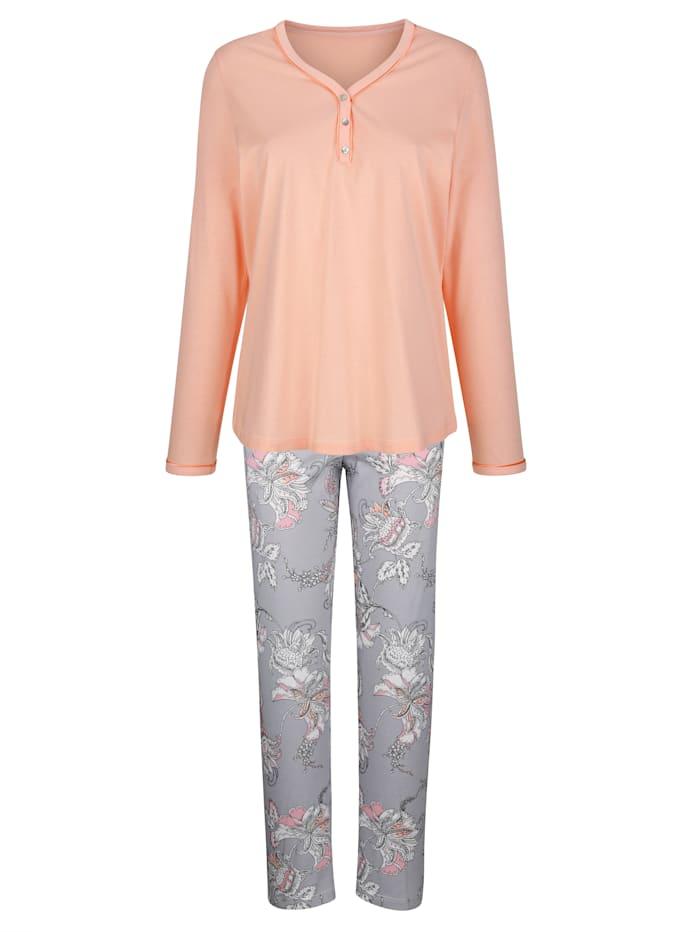 Pyjama met mooie bloemenprint, Apricot/Lichtgrijs/Ecru