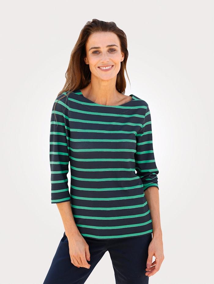 MONA Shirt mit gestrickten Ringel, Grün/Marineblau