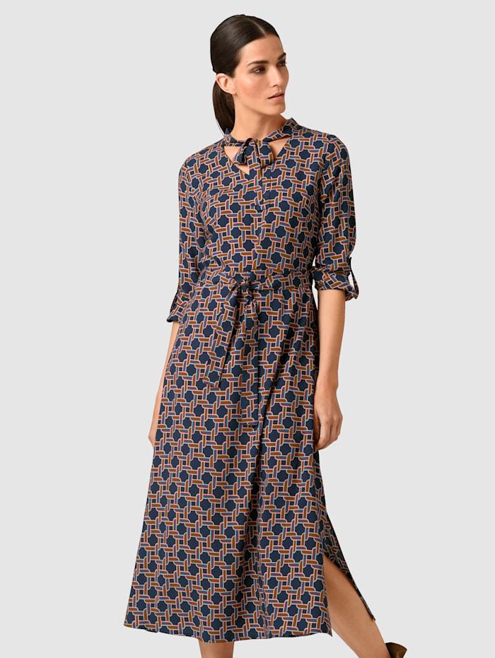 Alba Moda Kleid mit modischer Schluppe am Ausschnitt, Marineblau/Cognac
