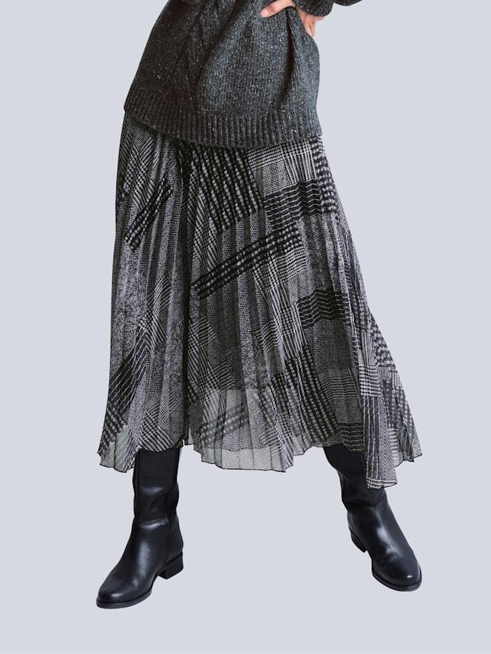 Alba Moda Rok van plissémateriaal, Antraciet/Grijs