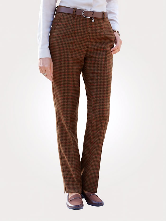 MONA Trousers in a houndstooth pattern, Brown/Burnt Orange