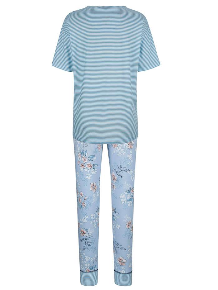 Pyžama s ozdobným šitím na prednom dieli