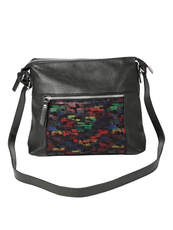 Gemini Schoudertas van hoogwaardig rundleer, zwart/multicolor