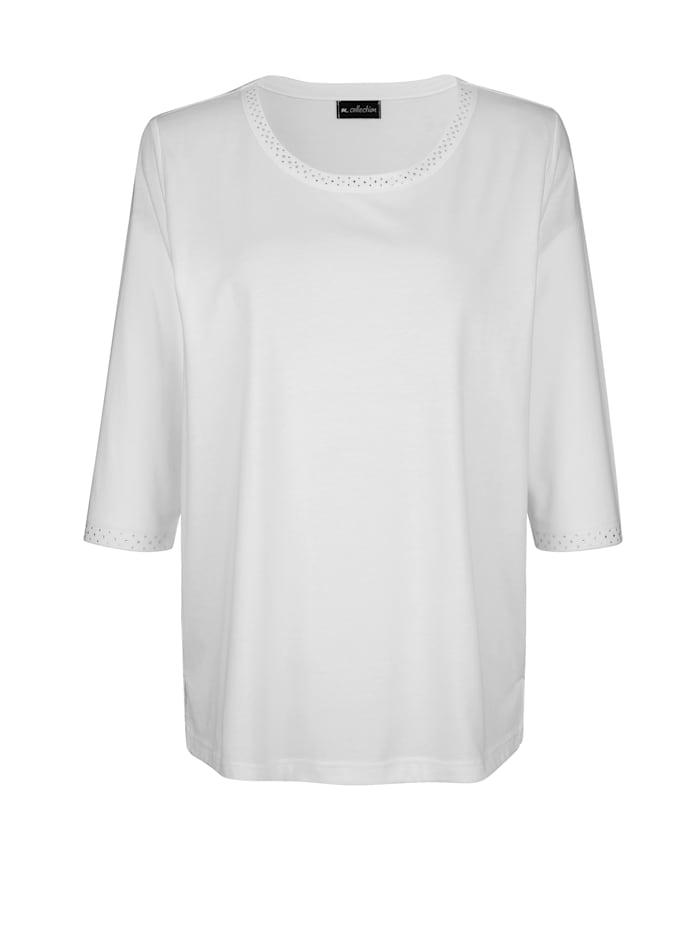 m. collection Shirt mit Strasssteinen, Off-white