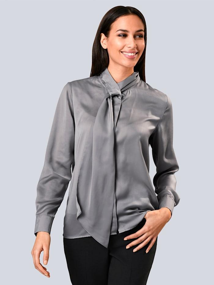 Alba Moda Bluse mit Schluppe, Grau