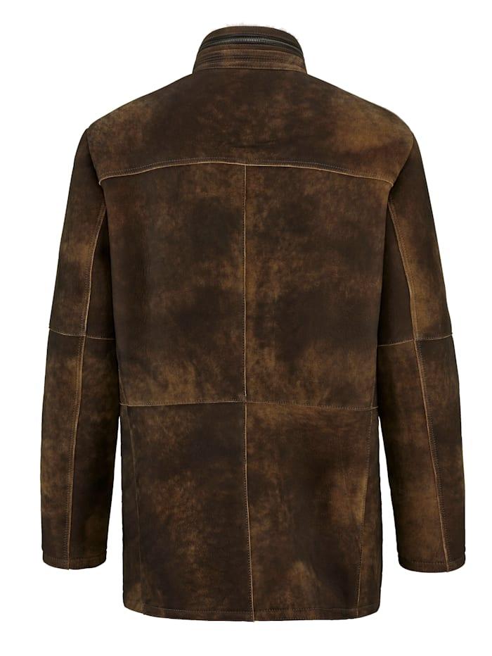 Kožená bunda z přírodní jehněčí kožešiny