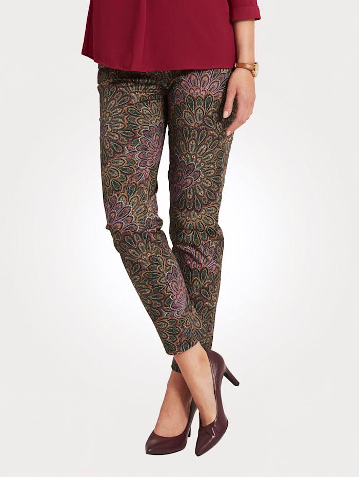 MONA Pantalon à motif cachemire, Olive/Rose vif