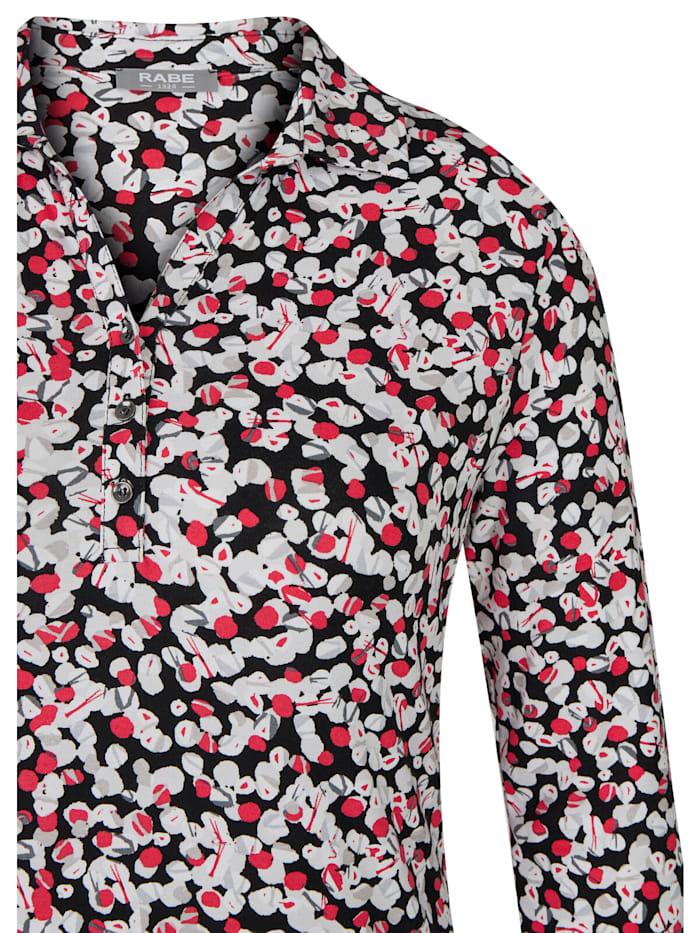 Blusenshirt mit getupftem Allover-Muster und Knöpfen