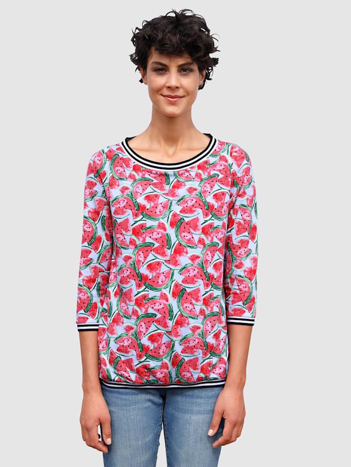 Dress In Shirt mit sommerlichem Melonendruck, Hellblau
